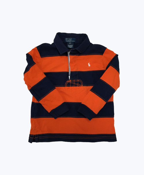 Orange & Navy Rugby Shirt, Toddler Boys