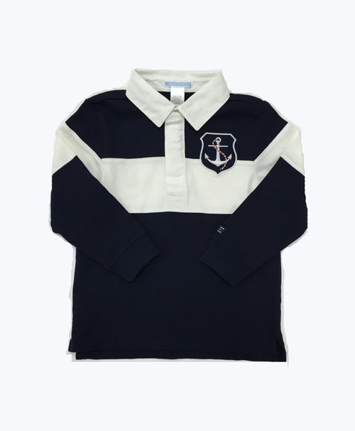 Navy Long Sleeve Rugby Shirt, Toddler Boys