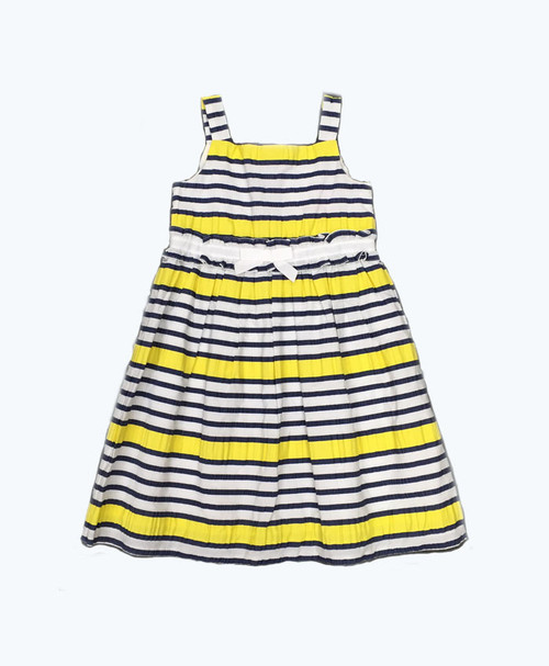 Navy Yellow Striped Dress, Toddler Girls