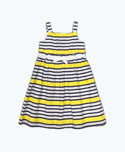 Navy Yellow Striped Dress, Toddler Girls