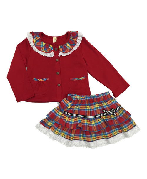 Plaid Cardigan & Skirt Set, Baby Girls