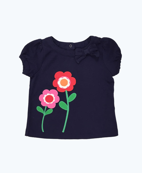 SOLD - Navy Appliquéd Flowers Top