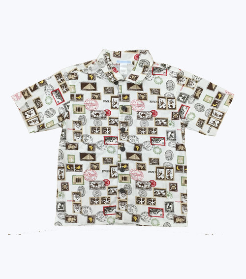 Monkey Travel Stamp Button-Down Shirt, Little Boys