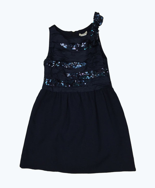 Navy Blue Holiday Sequin Dress, Little Girls