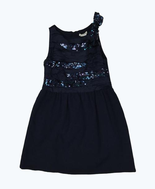 Navy Blue Holiday Sequin Dress, Little Girls