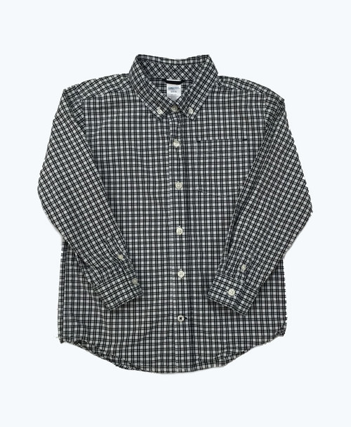 Black & White Checkered Button-Down Shirt, Little Boys