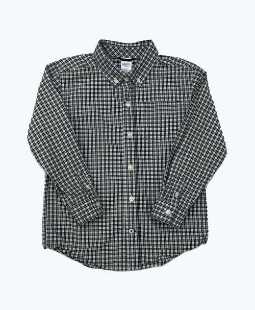 Black & White Checkered Button-Down Shirt, Little Boys