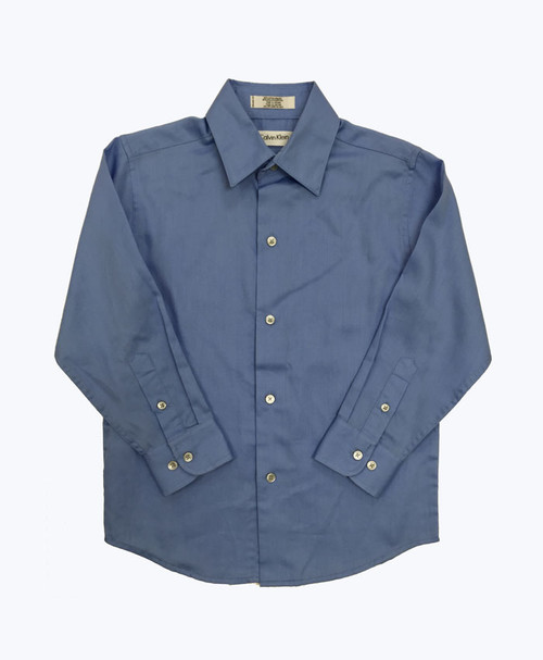 Light Blue Sateen Dress Shirt, Little Boys