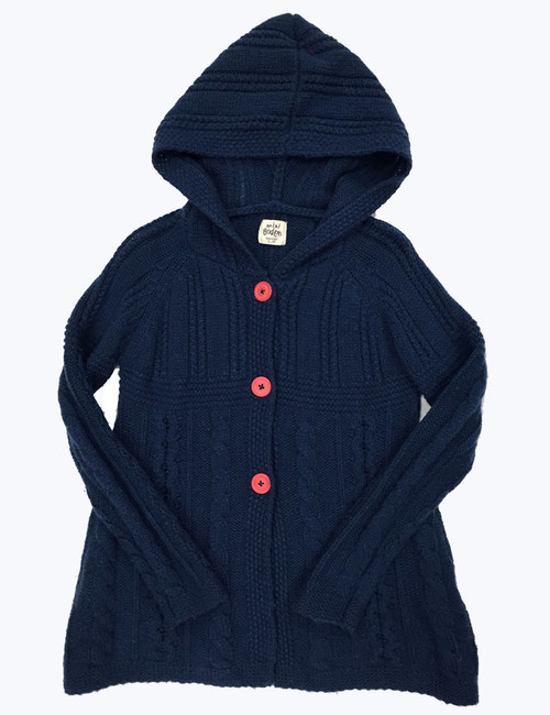 Navy Hooded Cardigan, Little Girls