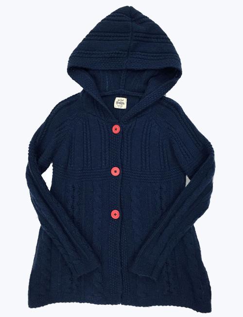 Navy Hooded Cardigan, Little Girls