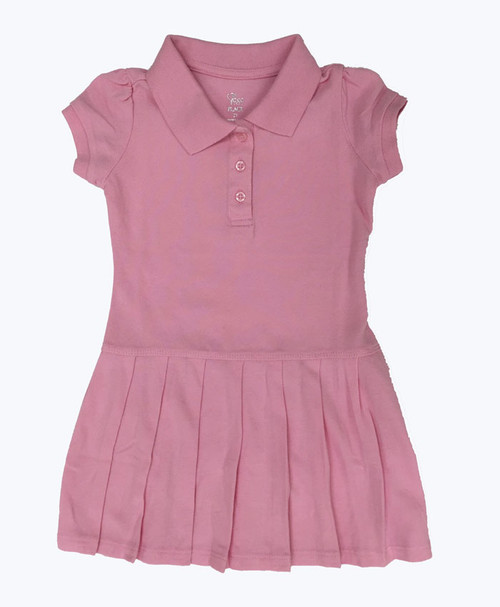Pink Short Sleeve Polo Dress, Toddler Girls