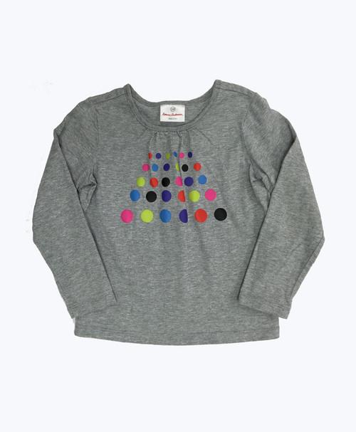 Gray Polkda Dots Shirt, Little Girls