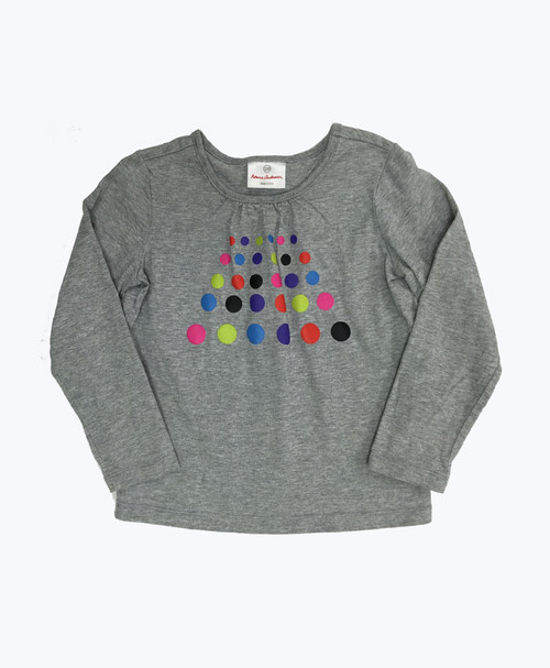Gray Polkda Dots Shirt, Little Girls