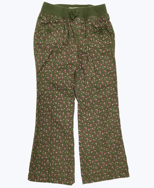 Green Floral Pants, Little Girls
