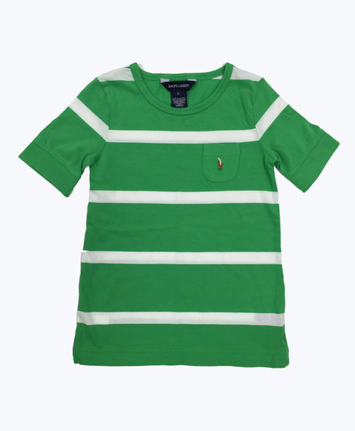 Green & White Striped Tee Shirt, Little Girls