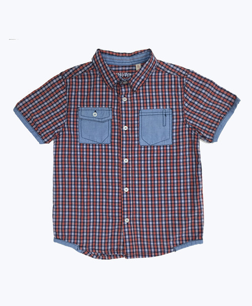 Red and Blue Plaid Button-Up Shirt, Little Boys