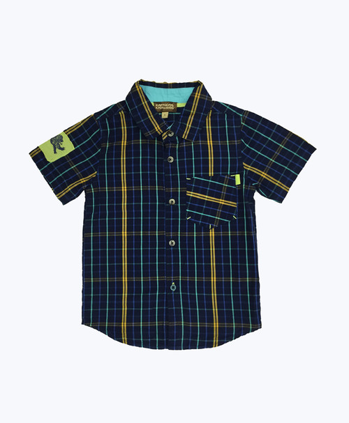 Blue & Gold Plaid Button Down Shirt, Little Boys