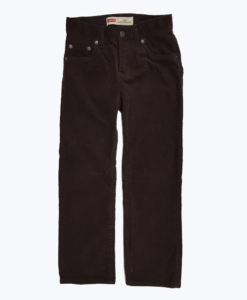 Burgundy Slim Straight Corduroy Pants, Little Boys