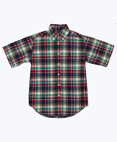 SOLD - Navy Green Plaid Button Down Shirt