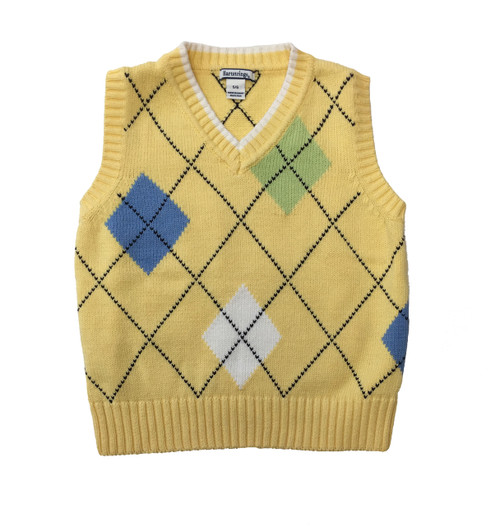 Pastel Yellow Argyle Sweater Vest, Little Boys