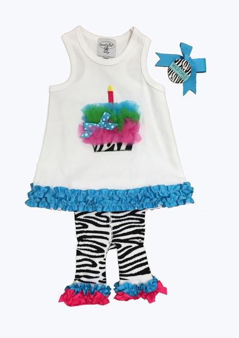 Birthday Cake and Zebra Pants Set, Baby Girls