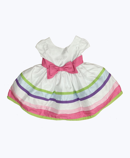 Multi-Color Stripe Ribbon Dress, Baby Girls