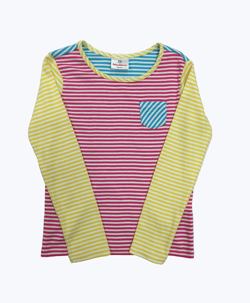 Multi-Color Striped Tee, Little Girls