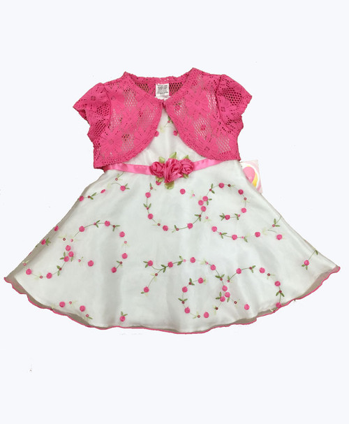 Organza Floral Dress & Crochet Shrug, Baby Girls