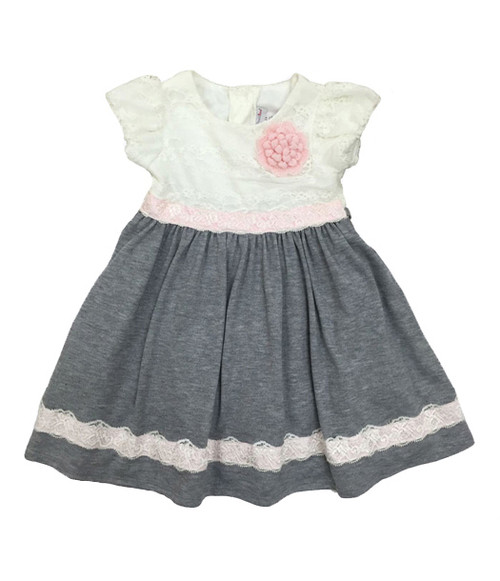 Pink & Gray Lace Dress, Toddler Girls