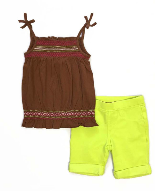 Electric Green Smocked Outfit, Toddler Girls