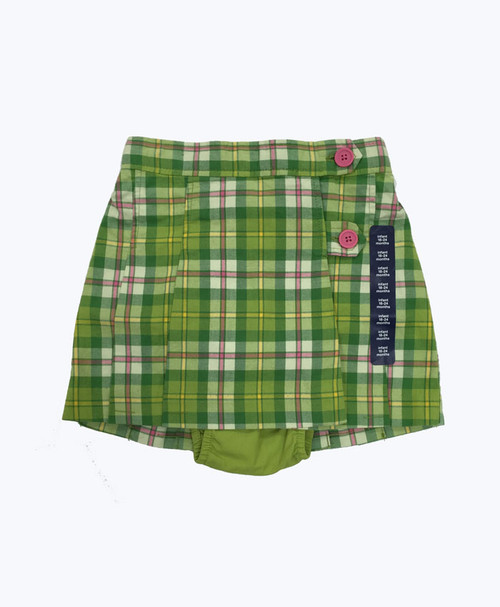 Apple Green and Pink Plaid Skirt, Baby Girls