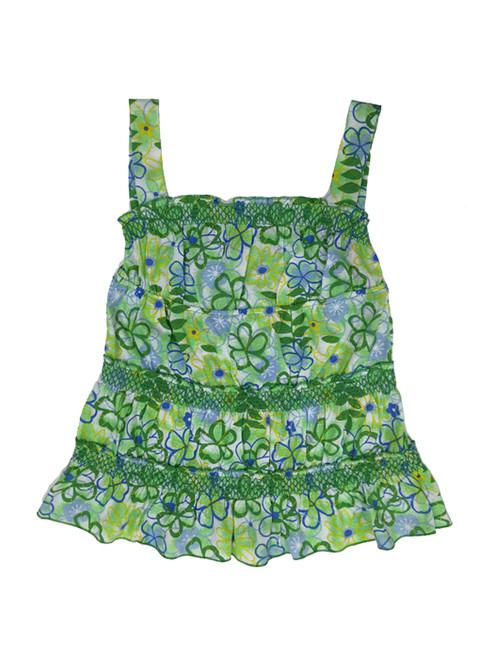 Green Floral Tank Tunic, Little Girl