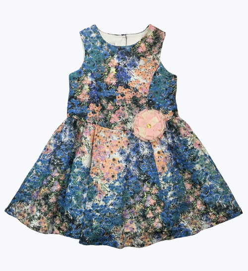 Blue Floral Lace Sleeveless Dress, Little Girls