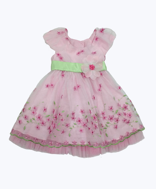 SOLD - Embroidered Organza Dress w/ Diaper Cover