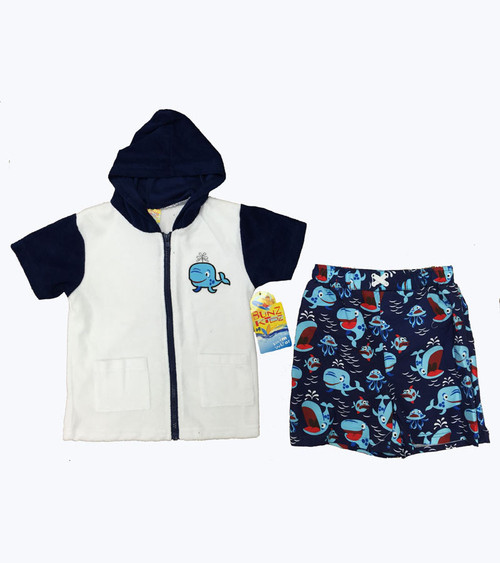 Blue Whale Swim Cover-Up & Trunk Set