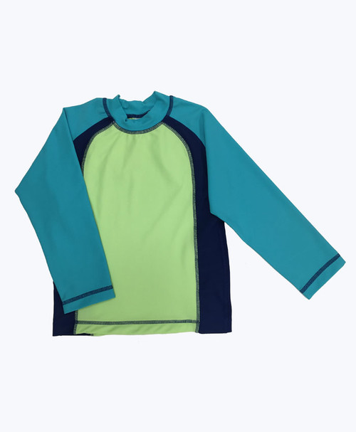 Green & Blue Rash Guard Shirt, Little Boys
