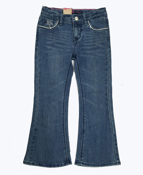 Sequin Flare Denim Jeans, Little Girls