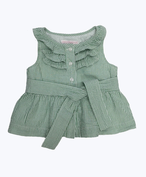 Green Striped Seersucker Top, Baby Girls
