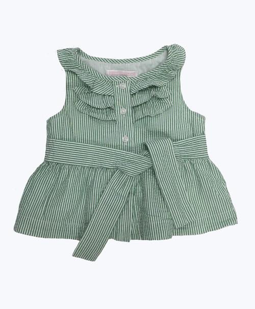 Green Stripe Seersucker Top, Baby Girls