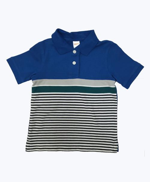 Blue & Green Striped Pique Polo, Toddler Boys
