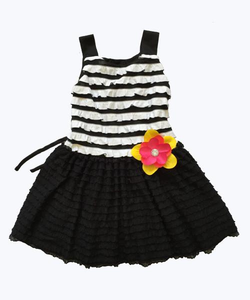 Black & White Ruffle-Tier Dress