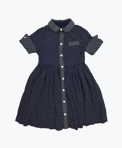 SOLD - Navy Polka Dots Dress