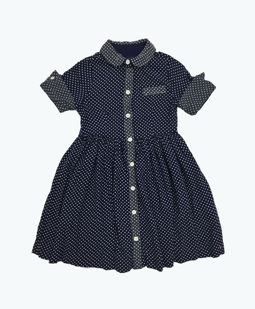 SOLD - Navy Polka Dots Dress