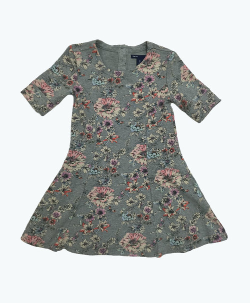 Gray Printed Floral Dress, Little Girls