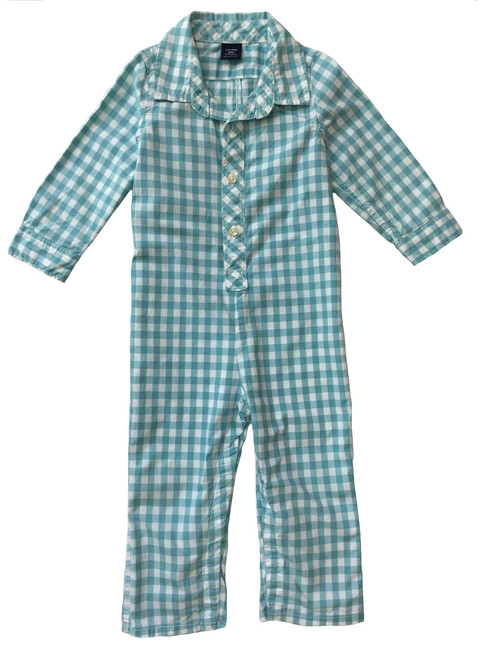 Teal Checkered Romper, Baby Boys