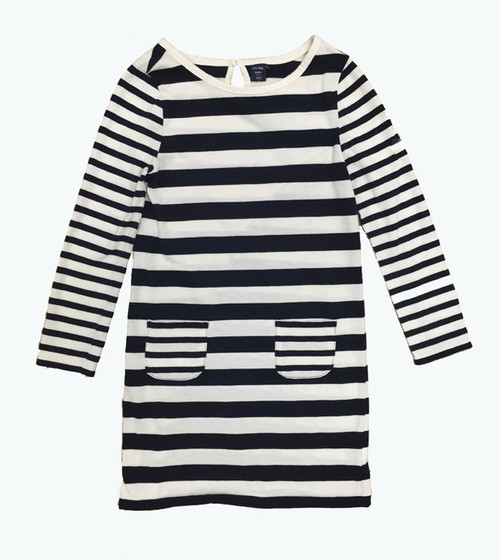 Navy Striped Dress, Toddler Girls