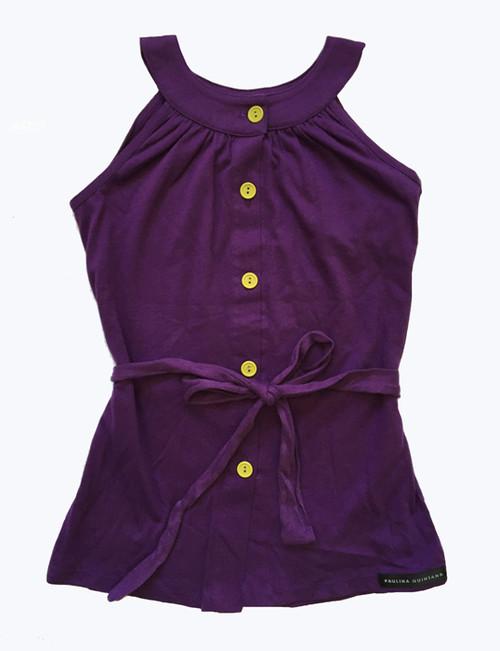 Purple & Light Green Mandarin Dress, Toddler Girls