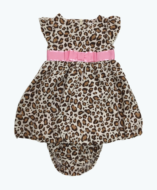 Pink Bow Leopard Corduroy Bubble Dress, Baby Girls