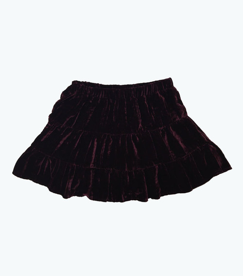 Burgundy Velour Skirt, Toddler Girls
