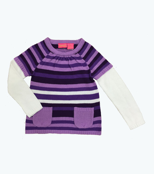 Purple Stripes Sweater Tunic, Toddler Girls